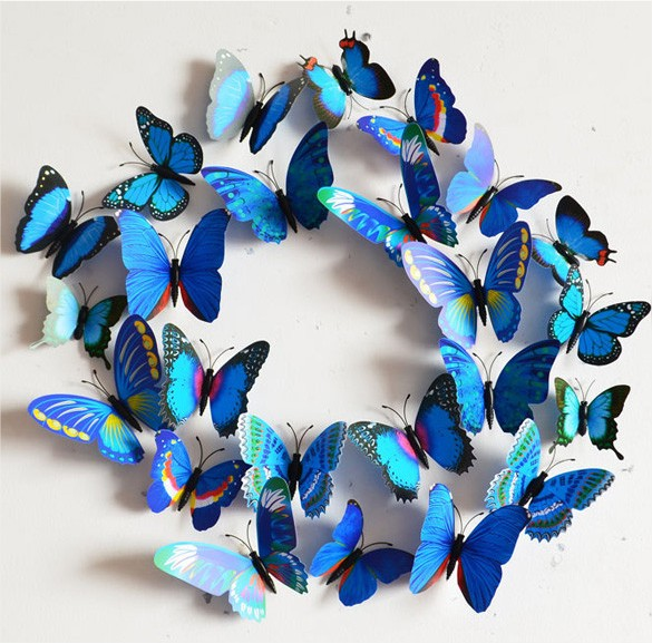 Papillons 3d bleu d co murale ou sur r frig rateur for Decoration murale oiseau 3d