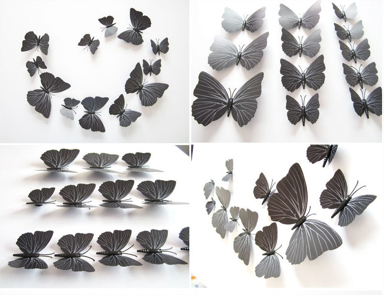 Papillons 3d noir d co murale ou sur r frig rateur for Decoration murale papillon 3d