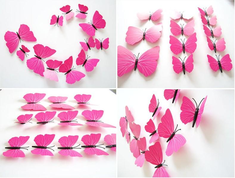 Papillons 3d violet d co murale ou sur r frig rateur for Decoration murale papillon 3d noir
